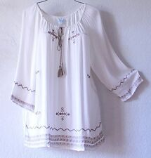NEW~Ivory White & Beige Embroidered Peasant Blouse Shirt Plus Boho Top~26/28/3X