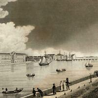 Russia St. Petersburg 1830 old panoramic view print engraving Kelly Neva river