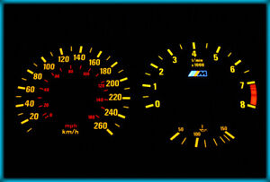 G016 BMW E30 M3 82-94 EU 260KMH BLACK/AMBER Plasma Glow Cluster Gauges Dials