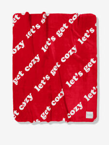 """Victoria's Secret Pink """"Lets Go Cozy"""" Sherpa Blanket in Red 50"""" x 60"""""""