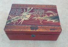 Vintage Japanese Lacquered Wooden Box With Gold Bird Decoration