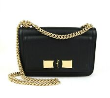 $1090 Salvatore Ferragamo Ginevra Black Leather Double Flap Chain Bag 21G657