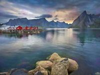 Photograph Landscape Lofoten Island Village Norway Canvas Art Print