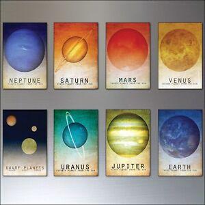 Fridge magnets Solar System Vintage retro space astronomical art fridge set of 8