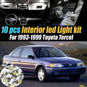 10Pc Super White Car Interior LED Light Bulb Kit for 1993-1999 Toyota Tercel