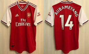 AUTHENTIC Arsenal London #14 Aubameyang 2020/2021 Home Sz M shirt jersey soccer