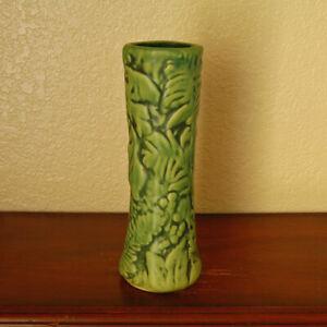 "Stunning Vintage Weller Pottery Marvo 9"" Tall Bud Vase w/ Ferns and Foliage"