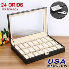 24 Slot PU Leather Watch Box Display Case Glass Top Jewelry Storage Organizer US