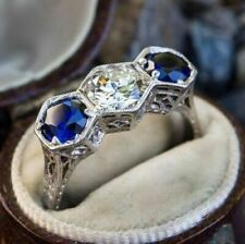 Antique Round Cut White & Sapphire Diamond 3 Stone Anniversary Ring 925 Silver