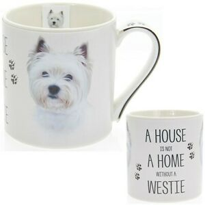 New boxed Westie Dog artistic gift fine china mug coffee cup Free P+P