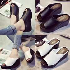 Women Sandals Platform Wedge Faux Leather Mules Open Toe Slides Shoes Slippers