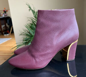 CHLOE 1450$ Burgundy Gold Shoes. Made In Italy. Size 41