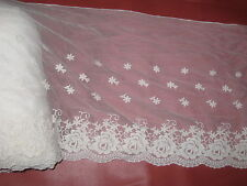 """this is a 3 yard in 12"""" width in cream color high end cotton&tulle/applique trim"""