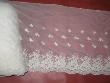 "this is a 2 yard in 12"" width in cream color high end cotton&tulle/applique trim"