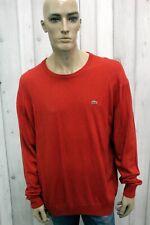 LACOSTE Taglia 3XL Maglione Rosso Uomo 8 Sweater Pullover Maglia In Lana Vergine