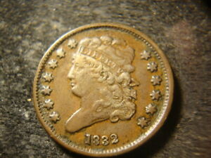 1832  VF XF Solid Classic Head Half Cent  Low Mintage Rare Date UPX