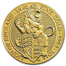 1/4 Pouces 999 Or Pièce en or 25 LIVRES THE QUEENS Beasts Lion de Angleterre