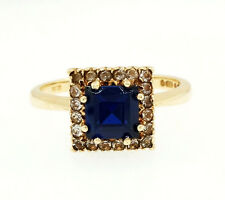 9Ct Yellow Gold Simulated Sapphire & Diamond Ring (Size N) 9x9mm Head