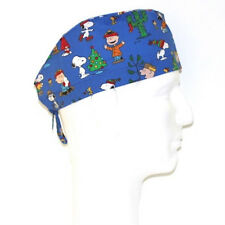 Peanuts Gang Snoopy Lucy Christmas theme blue scrub hat