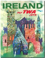 "Vintage Illustrated travel Poster *FRAMED* CANVAS PRINT ~ Ireland TWA 16""x12"""