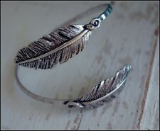 Rustic Boho Double Feather Tip Cuff Arm Bracelet - Burnished Silver