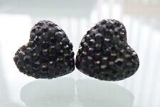 Small Dainty Black Rhinestone Heart Crystal Diamante Diamond Stud Earrings