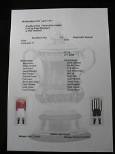 1911 FA Cup Final Replay Bradford City v Newcastle United Matchsheet