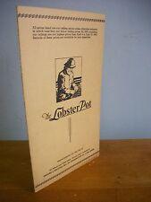 The LOBSTER POT, Lynn MA Vintage 1943 Menu