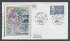 FRANCE FDC - 2454 1 CHARLES RICHET - 21 Fevrier 1987 - LUXE sur soie