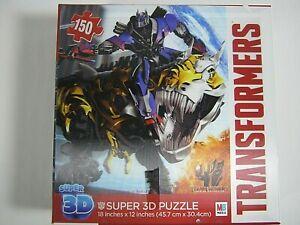 "Milton Bradley Transformers Super 3D Puzzle 150 Pieces Hasbro 18""X12"" 2014"