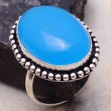 Blue Chalcedony Ethnic Gift Handmade Ring Jewelry US Size-9 AR 98269