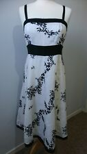 Monsoon black and white floral midi dress 100% linen cool size 12 embroidered