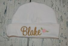 2196d54f6a118 PERSONALIZED Baby Hat Monogram with Name and Rose Infant Hat Newborn Girl  Cap