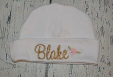 PERSONALIZED Baby Hat Monogram  with Name and Rose Infant Hat Newborn Girl Cap