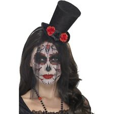 Women's Day Of The Dead Mini Black Top Hat Halloween Fancy Dress Roses Lace Veil