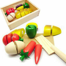 2016 Kids Role Play Kitchen  Wooden Fruit Vegetable Food Cutting Toy Set TSUS