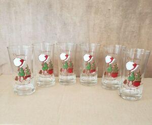Holly Hobbie Christmas Glasses Set of 6 VINTAGE