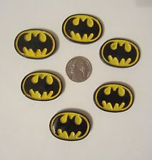 6 NEW BATMAN LOGO FLAT BACK RESINS CABOCHONS *SHIPS FREE* *USA SELLER*