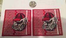"""(2)-UGA GEORGIA BULLDOGS VINTAGE Embroidered Iron On Patches 3.5"""" x 3.5"""""""