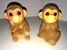 Early Vintage Pair Josef Originals Flocked Monkeys Round Labels