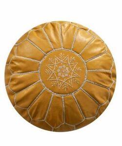 Moroccan Leather pouf Handmade Ottoman Luxury Pouffe Mustard Yellow Footstool