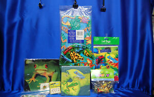 Frog Party Set # 12 Plates Napkins Tablecover Tattoos Stickers Games Mouse pad+