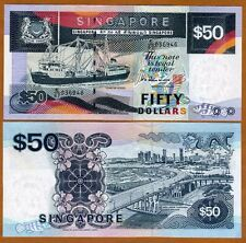 Singapore, 50 dollars, ND (1994), P-32, UNC > Boat > Scarce