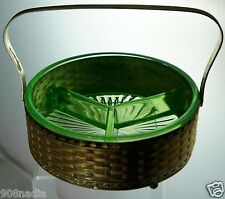 VINTAGE URANIUM VASELINE GREEN GLASS DIVIDED DISH BOWL W/ METAL FOOTED STAND