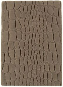 Croc Taupe Brown Geometric Hand Tufted New Zealand Wool Carved 3D Living Room...