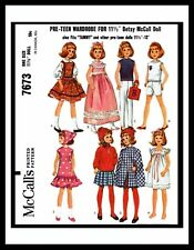 McCall's 7673 Fabric Sewing Pattern Tammy Barbie DOLL Wardrobe Mattel Betsy 11.5