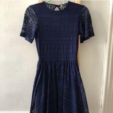 Asos Navy Blue Flutter Sleeve Lace Skater Dress Fit And Flare 4