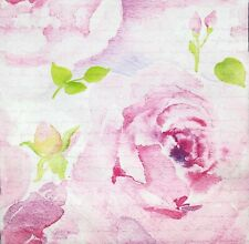3 x Single Paper Napkins For Decoupage Pink Watercolor Painted Rose Script M505