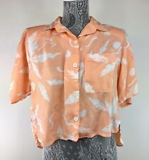 Vintage 80s California Krush S Orange Blouse High Low Hem Shoulder Pad Miami