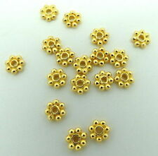 Spacer Bali Beads Daisy Flower 6mm Round Beads Handmade Gold Polished 15 Pieces